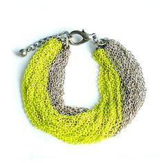 Multi Strand Neon Yellow Chain Bracelet by StudioHx3 on Etsy, $46.00