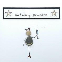 Birthday card Pebble Art Stick man/woman princess cute