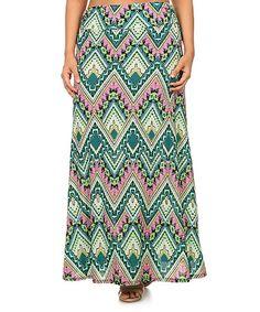 Mint Chevron Maxi Skirt - Plus #zulily #zulilyfinds