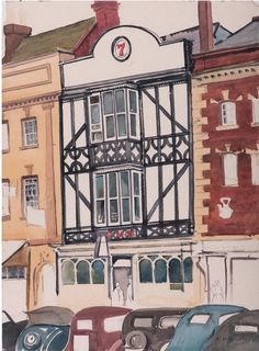 #Rudolph #Sauter: The #Retreat #Pub #Ledbury  Unmounted  Signed  #Watercolour #painting #architecture #building #modernart #Britishart #art #llfa