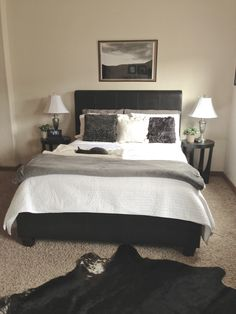 Bedroom-color scheme Melina's bedroom, black leather with grey and white, black bed, bed black leather