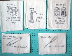 "MusicThemed Flour Sack Towels  Set of 5 by elizabitsies on Etsy, $30.00 - These are so funny!  ""Whip it good!"""