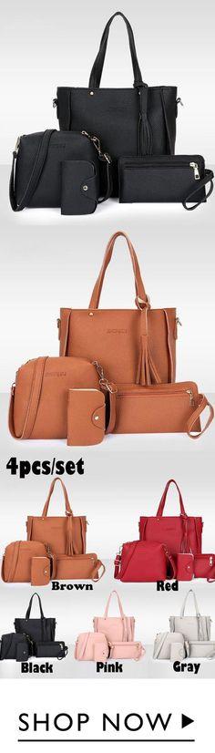 bf0f6bdaecc63 4pcs Women Handbag Lady PU Leather Shoulder Bag Tote Purse Messenger Bag
