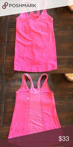 Lululemon Hot pink lulu top. Built in bra. No pads. lululemon athletica Tops Tank Tops