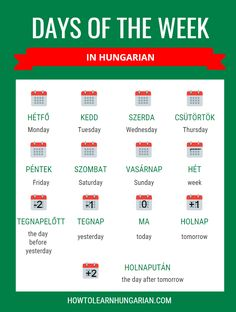In this free online language lesson you can learn the days of the week in Hungarian. Pronounce the words by listening to native Hungarian audio. Hungarian Flag, Norwegian Words, Sign Language Phrases, Budapest Travel, Languages Online, German Language Learning, Language Lessons, Yesterday And Today, English Words