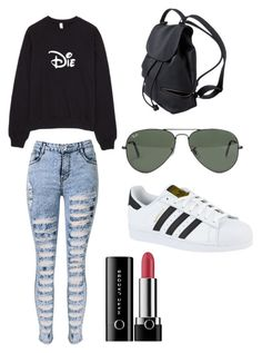 """""""Untitled #96"""" by caitlynronni on Polyvore featuring WithChic, Ray-Ban, adidas and Marc Jacobs"""