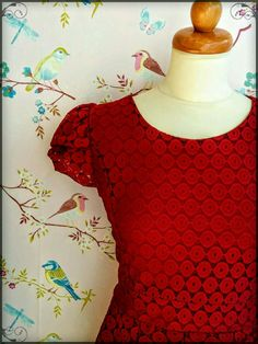Detail of our retrostyle , lace , maxi dress.Love the red wine colour for this season!