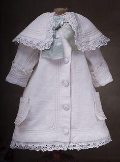 "Antique Original White Pique Dress for French Bebe Jumeau Bru Steiner doll 26-27"""