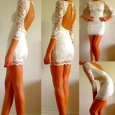 White lace dress open back. Good for the reception dress. You could change from wedding dress to reception dress. Lace Dress With Sleeves, Dress Up, Lace Dresses, Dress Lace, Backless Dresses, Dress Clothes, Sequin Dress, Bodycon Dress, Cutout Dress