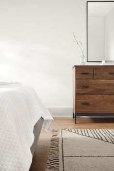 Our Linear dresser adds modern storage to any bedroom. Modern Bedroom Furniture Sets, Bedroom Sets, Home Decor Bedroom, Bedrooms, Hotel Room Design, Lounge Design, Modern Dresser, Hotel Decor, Luxury Decor