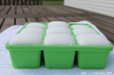 Garbage Can Fresheners in Ice Cube Trays via Clean Mama
