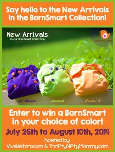 The new BornSmarts are here!  Enter to win one in your choice of color!  #makeclothmainstream #clothdiapers