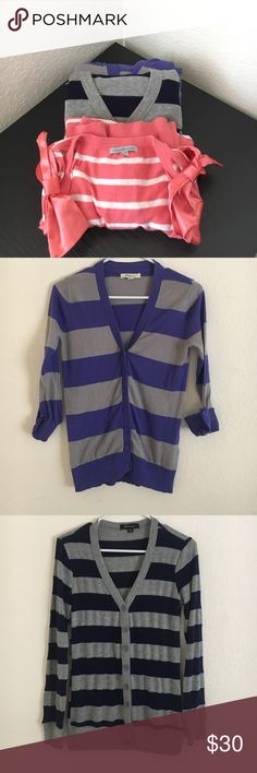 F21/Charlotte Ruse Cardi Bundle Like-new Forever 21/Charlotte Russe Cardigan Bundle. Purple/Grey Striped & Navy/Grey striped cardigans are both from Forever 21 & size small. Coral/ivory striped cardigan with bow-detail sleeves is from Charlotte Russe and is a size XS but fits like a small⭐️Open to reasonable offers Forever 21 Sweaters Cardigans