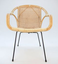 Retro Vintage Danish Desk Chair Armchair Rattan Iron 1950s 60s Eames Mid Century
