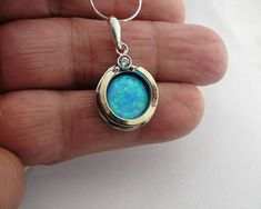 Opal Pendant, Sterling Silver, 9K Yellow Gold , (ms 958p – Hadar Jewelry