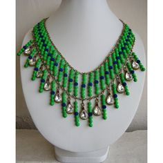 Green Necklace/Statement Necklace/Long Necklace/Chunky Necklace/Bib Necklace/Beaded Necklace/Neon Necklace/Beaded Jewelry