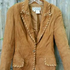 Vintage Suede Western Jacket Fully lined. Sleeves are 17.5 inches from underarm to wrist, shoulders seam to seam at the top are 16.5 inches, chest from pit to pit is 18 inches, length down the back is 27 inches. Reasonable offers welcome through the offer button. Bundle 2 or more items and save! Carlisle  Jackets & Coats Blazers