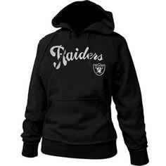Oakland Raiders Ladies Black Takeaway Raw Edge Pullover Hoodie Sweatshirt #Fanatics #Pinforpresents