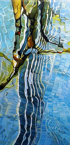 Ripples, oil on canvas, by Margarethe Vanderpas Abstract Landscape, Landscape Paintings, Abstract Art, Landscapes, Water Reflections, Canadian Artists, Water Images, Painting Techniques, Painting Inspiration