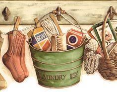 Die Cut Antique Country Laundry Room Gardening GR Bucket Wallpaper ...
