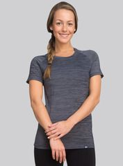 The Everyday Tee in river. Crafted from an ultra-soft blend of nylon, polyester and spandex, this relaxed t-shirt embraces your curves and keeps you feeling fresh. Shop this and other styles at www.coryvines.com