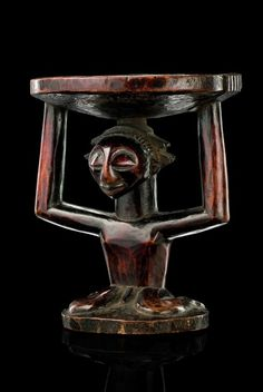 D.R. Congo, Luba | Among Luba, aesthetic beauty is not only synonymous with social value, but also often has apotropaic or healing dimensions. The coiffures often contain medicinal substances to empower the figure. Accordingly present headrest has a drilled hole on top. Headrests were owned by Luba rulers and by other persons of high rank with the financial means to afford them.