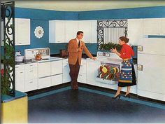 1950s Kitchen, interesting that this is a white kitchen, the colour comes from the wall paint.