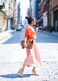 I Love this clash of colours outfit, the orange and pink really compliment each other, try playing around with different colour matches