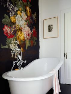 As the days grow shorter and darker, our favorite summer florals are coming over to the dark side, showing up in deep hues on wallpaper, textiles and even tiles. Like a walk through the garden at night, the prints are lush, romantic and moody in the best way possible.