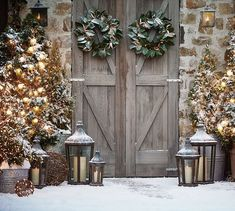 Rustic Barn Doors decorated for the Christmas holidays from Pottery Barn