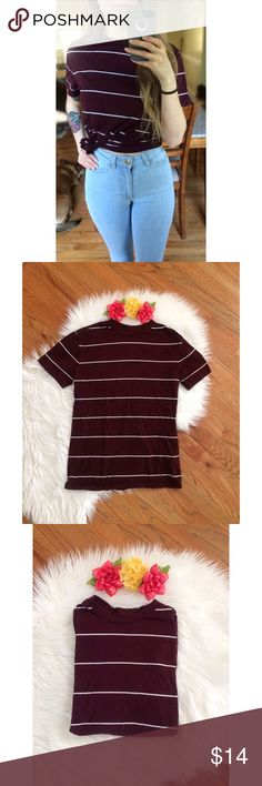 Classic Soft Striped Maroon Tee 🍓 Awesome super soft tee to add to your closet! Comfy and slightly oversized, looks great untied or tied up with some high waisted jeans or shorts! Will easily become a favorite staple piece! In great like new condition. Fits a variety of sizes depending on desired fit! Modeled on a size xs :) Tops Tees - Short Sleeve
