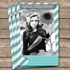 """Diy Personalized Blue Gray Vintage Sweet Sixteen Sophisticated Inspired Birthday Party Digtial PRINTABLE 4""""x6"""" Invitation"""