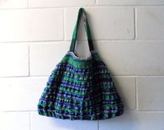 Blue and Green Hand Knitted Tote Bag Multi Coloured by Kezylou