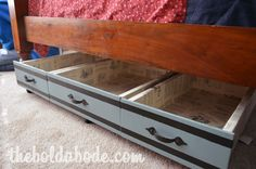 Find old dresser drawers for under the bed storage. Connect 3 together!  Under Bed Storage Drawers with Repurposed Dresser Drawers