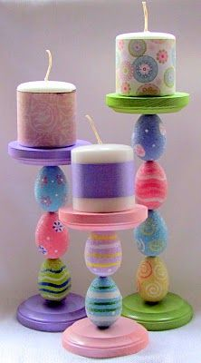 Easter Candle Holders....love this idea!  Easily change it up per season, like bulbs for Christmas!  I'm going to be doing this.