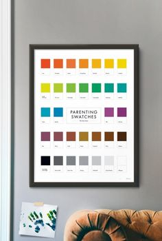 Color swatches have always been beautiful to look at. Combine them with the joys and pains of the early years of parenting, and you've got a chart that brings humor and beauty to your day. With fun color swatch names like Love, First Words, and Diaper, this print makes a warm addition to a family's home.  SIZE: 18x24  (46cm x 61cm)  • Printed in Chanhassen, Minnesota on heavy, FSC certified archival paper • Each poster signed by the artist • Hand-numbered to document this first run of 100…