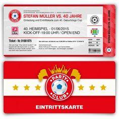 #Einladungskarten als #Fussballticket in Rot. Mit eigenem Text, abgerundeten Ecken und Perforation (Abriss). http://www.kartenmachen.de/shop/einladungskarten-zum-geburtstag/einladungskarte-als-fussballticket-rot.html. Die perfekte #Einladung für eine #Fußball #Mottoparty