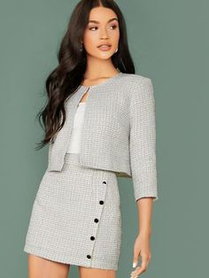 To find out about the Plaid Open Front Tweed Jacket & Buttoned Bodycon Skirt Set at SHEIN, part of our latestTwo-piece Outfits ready to shop online New Arrivals Dropped Daily. Mode Outfits, Girly Outfits, Classy Outfits, Pretty Outfits, Casual Outfits, Pink Blazer Outfits, Suit Fashion, Look Fashion, Korean Fashion