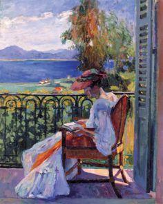 Jeanne sur le balcon de la villa Demière d'Henri Manguin...