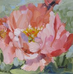 Abstract realist painting by Linda Hunt titled 'Peach Peony' small painting peony floral flower 6X6 contemporary alla prima still life NEW: