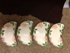 4 FRANCISCAN DESERT ROSE BONE DISHES MADE IN CALIFORNIA USA #FRANCISCAN