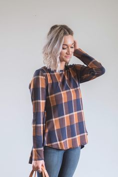 Piper's Pick: Autumn Plaid Blouse with Peplum Back