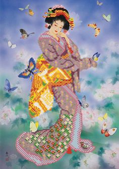 bead picture DIY Bead Embroidery Kit Needlepoint craft set Beaded stitching lady women girl japane geisha beadwork beads