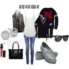 Love this outfit for football season! GO HUSKERS!