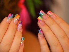 Neon rainbow swirls acrylic nail design