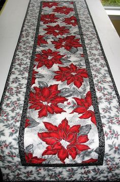 Christmas Table Runner Elegant Poinsettia quilted handmade