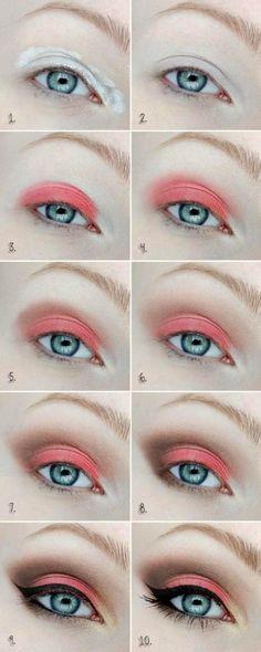 Makeup Artist ^^ | https://pinterest.com/makeupartist4ever/  Tutorial de maquillaje para ojos en color coral