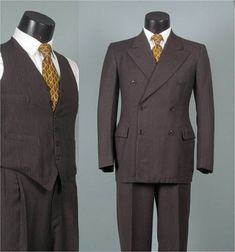RESERVED Vintage 1940s Mens Suit -- 3 Piece Brown Multi Stripe 6 x 2 Double Breasted Peaked Lapel -- 35/36 Regular