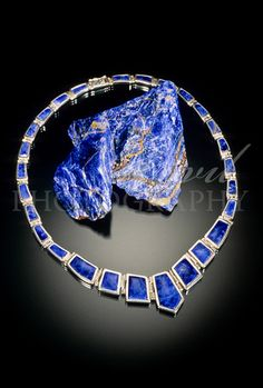 Sodalite rough and Sodalite and Silver Necklace