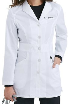 """The Smart Stretch Signature lab coat from Landau has a professional look and flatters every figure!  This coat features great accents like a wing lapel and two roomy slanted pockets for plenty of storage for your accessories!   Landau Smart Stretch Signature Mid-length Lab Coats  Front placket with five-button closure  Edged stitched princess seams  Multi-stitched waistband  Two slanted pockets  Medium center back length 31  1/2""""   52% cotton/45% polyester/3% spandex"""